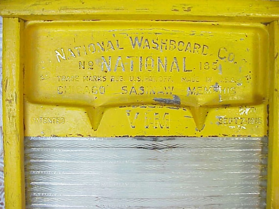 Vintage Decorative Shabby Yellow Washboard repurposed Wall Hanging