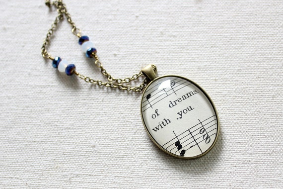 Vintage style necklace.  Romantic sheet music necklace.  Dreamy one of a kind accessory for women