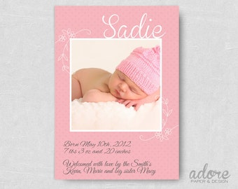 Pink polka dot Baby Birth Announcement - CHOOSE YOUR COLORS- Printable Digital File.
