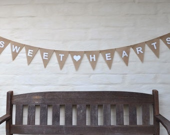 SWEET HEARTS Banner Hessian Burlap Rustic Country Wedding engagement Celebration Party Banner Bunting Decoration photo prop lovers