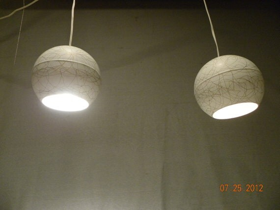 Eames Era Modern Eyeball Lamp Pair-Chic Modernist Metal Globes with Squiggle Paint Detail