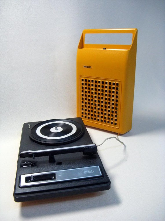 1970s Vintage Philips 22GF Portable Orange Record Player Pickup (reserved for Marte)