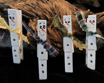 Set of 4 hand painted Christmas Snowman Clothespins