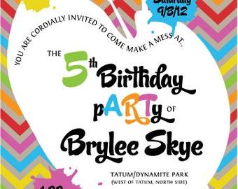 Rainbow Art Paint Chevron Birthday Party Invitation Set
