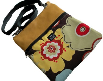 Honey Gold Yellow Leather Retro Blue Brown Red Funky Flowers Fabric Ipad Kindle Nook Ereader Messenger Bag  Sling Purse Cocoa Tango