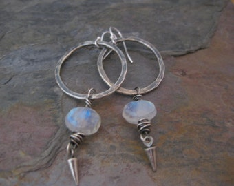 Sterling Silver Hoop Earrings with Rainbow Moonstone Nugget