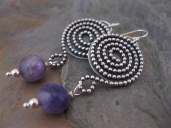 Sterling Silver Spiral Earrings with Charoite