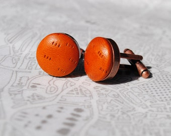 Textured Tan Leather Cufflinks