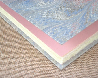 Guest Book - White Blue and Pink Marbled Paper