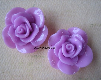 2PCS - Begonia Cabochons - Glossy - 30mm - Lavender - Cabochons by ZARDENIA