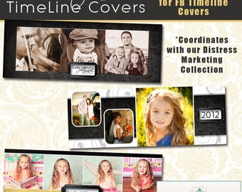 INSTANT DOWNLOAD - Distress Timeline Cover Collection - 3 Custom templates for FB Timeline Covers