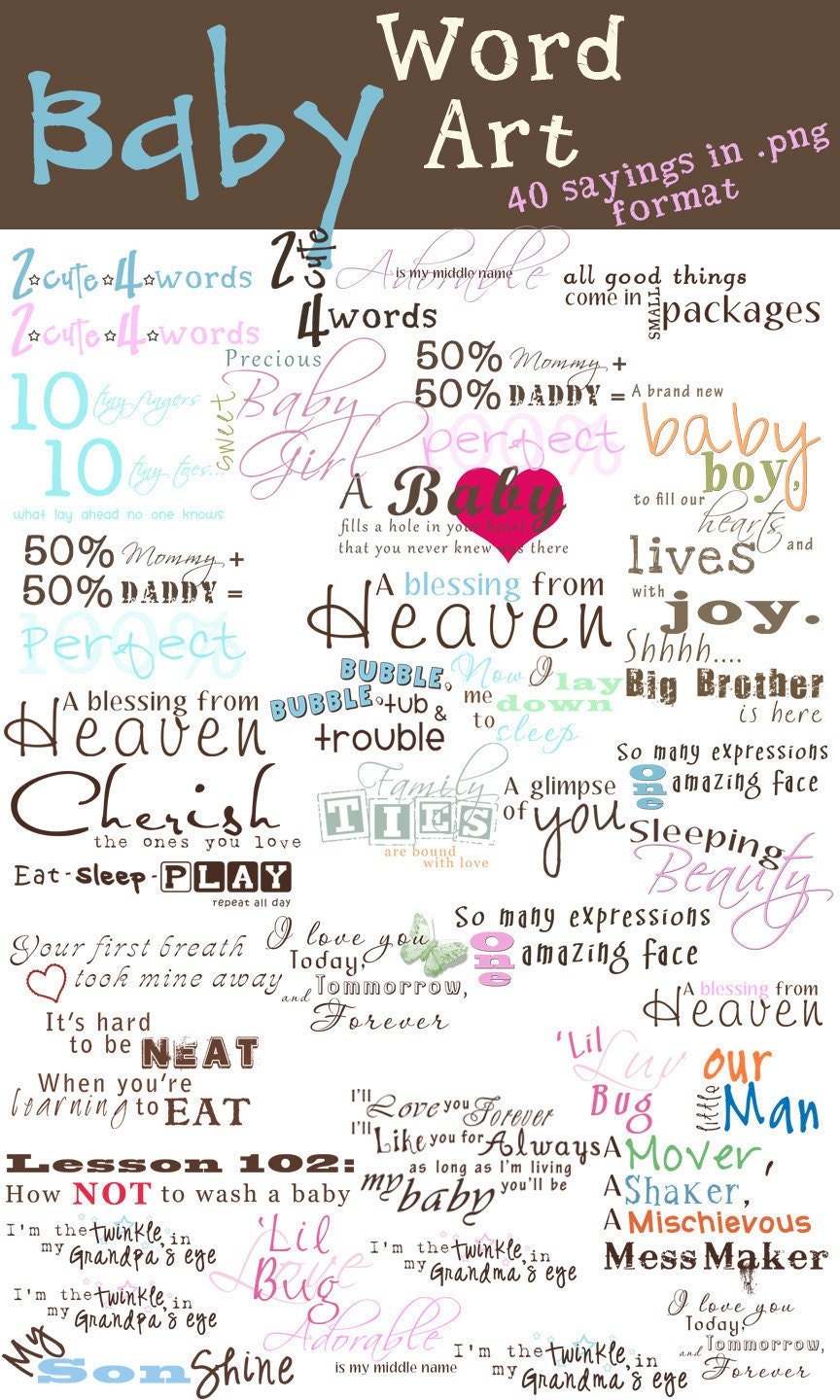 How to scrapbook words - Instant Download Baby Word Art Collection 40 Sayings For Collages Scrapbook Pages Cards Etc