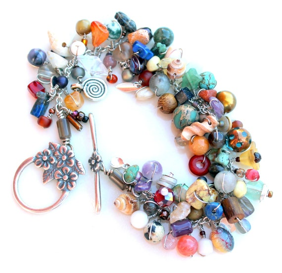 tactile wonderland. bracelet. muted multicolored flower nature clasp uniquenecks wire wrapped beaded bracelet.