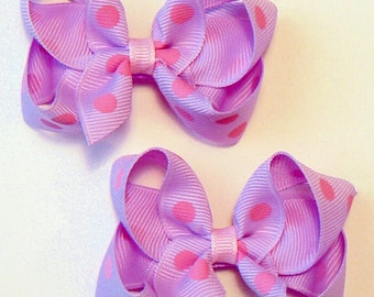 Girls Polka Dot Hair Bow Set Small Toddler Childrens Kids Boutique  Fashion Hair Clip Hairbows Hair Accessories (Set of 2) Choose Colors