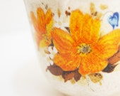 Fall Birthday - Fall Birthday Gift - Fall Mug - Vintage Fall Mug - Coffee Mug - Mug of Coffee - Coffee - Orange and Blue Floral Mug - 1970s
