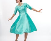 Clearance - Vintage 1960s Party Dress - 60s Cocktail Dress - Shimmery Aqua Blue