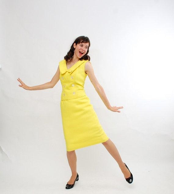 Clearance - Vintage 1960s Dress - 60s Skirt Set - Lemon Yellow