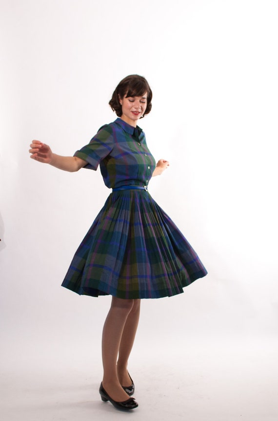 Vintage 1950s Shirtwaist Dress - 50s Plaid Dress - Preppy Blue Plaid