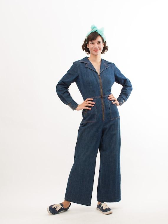 Vintage Denim Jumpsuit - 70s Denim Jumpsuit - Medium Blue Wash