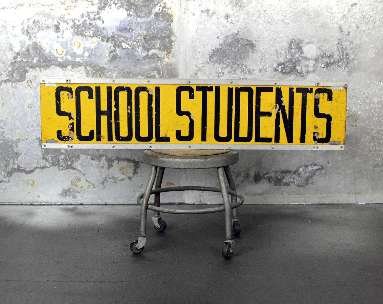 Vintage School Students Metal Bus Sign