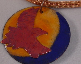 Torch Fired Enamel Raven in Flight with Viking knit chain.