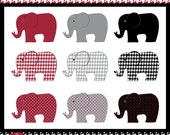 Elephants - in Crimson Red, Grey, and Black - Digital Clip Art