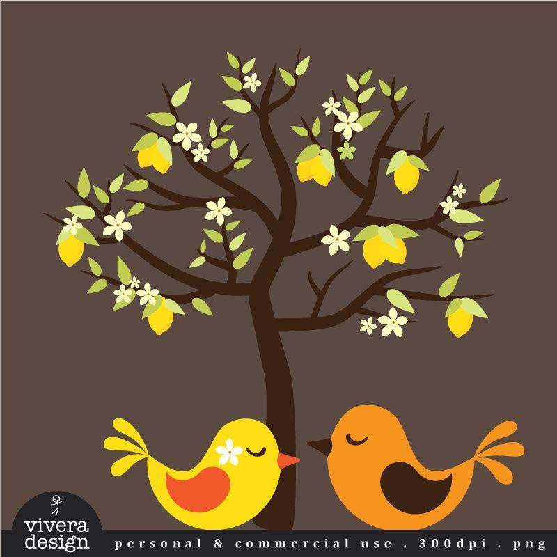 Lemon Tree Artwork Lemon Tree With Love Birds