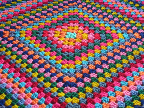 Crochet Afghan Blanket Harlequin Colorful Granny Square Retro Style 40 x 40