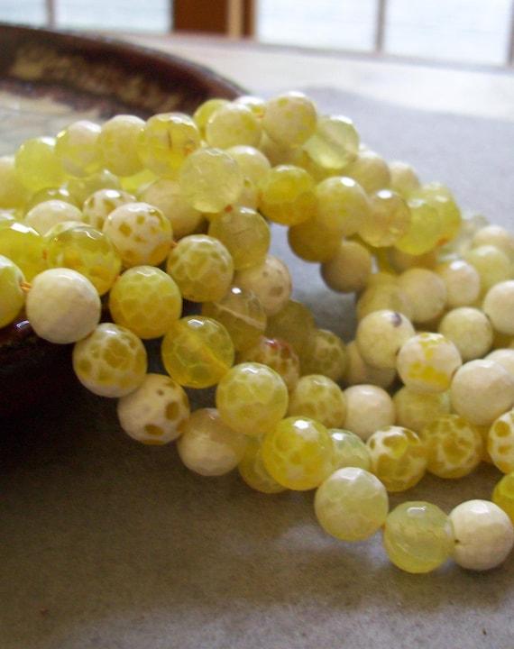 Lemon Drop - Lemon Yellow Faceted Agate Beads - 8mm - 22 beads