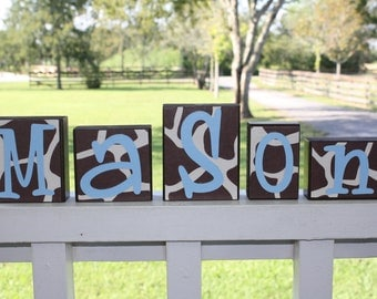 PERSONALIZED LETTER BLOCKS - Giraffe Print Room - Baby Shower Gift - Jungle Nursery Blue Centerpiece - Custom Bedding Sign