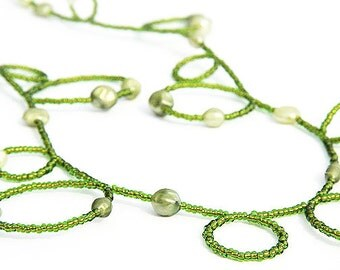 Long Pearl necklace Handmade Bubble Necklace Olive Green Seed Bead Necklace June Birthday Gift for her Summer Jewelry Sterling silver
