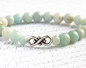 Bohemian Jewelry, Light Blue Amazonite Stone Bracelet. 8mm Stackable Bracelet. Infinity Bracelet. Tribal Inspired. Natural Stone Bracelet