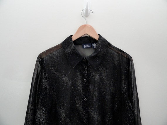 90s Sheer Black Galaxy Outer Space Star Button Up Shirt