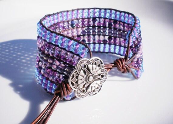 Wide Woven Bracelet Lavender Purple Cuff