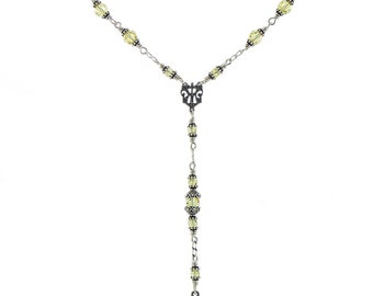 Sterling Silver Yellow Jonquil Swarovski Rosary Necklace