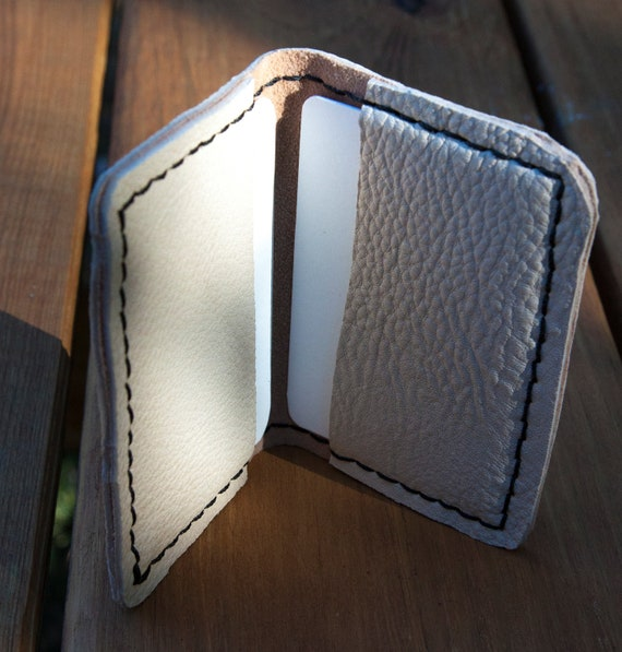 Slim and soft Hand Stitched Deerskin Front Pocket Wallet or Business Card Holder - Cream