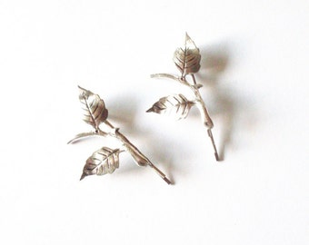 Silver Leaf Bobby Pins Bridal Hair Clips Bridesmaid Botanical Nature Garden Rustic Woodland Wedding Accessories Unique Womens Gift For Her