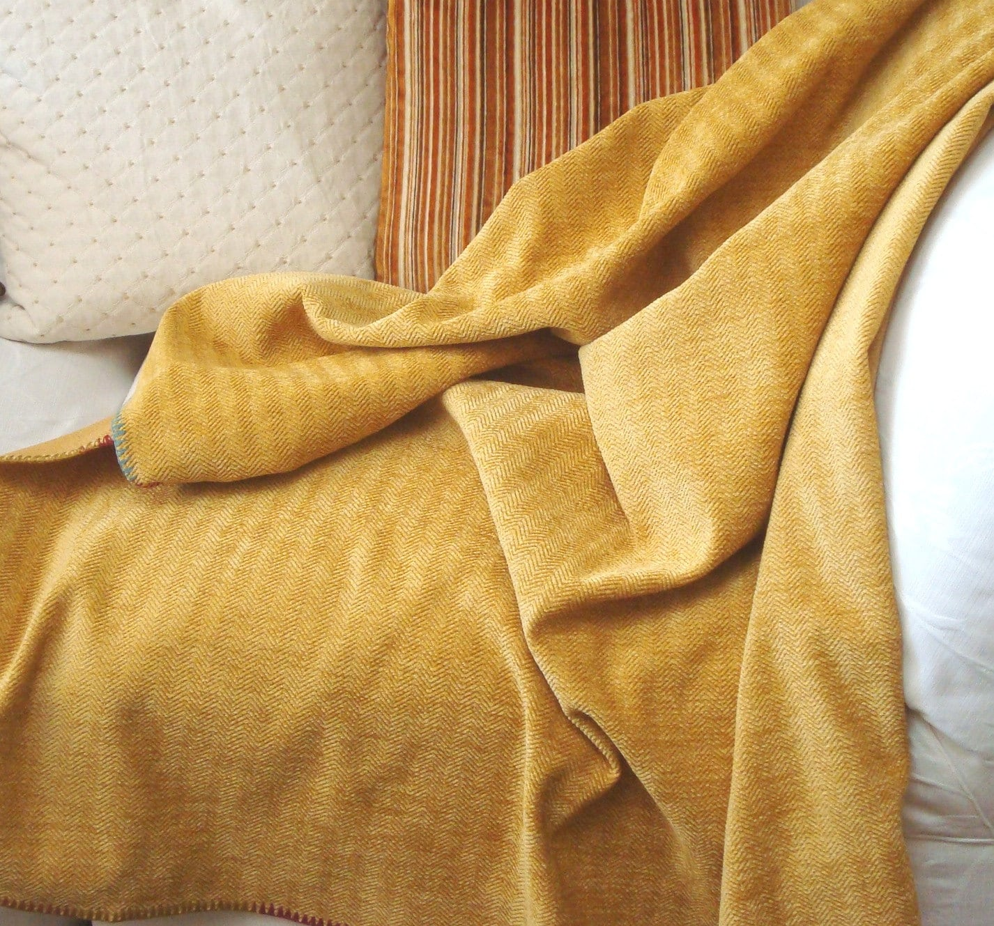 Sunflower Yellow Throw Blanket Decorative Hand Stitch Trim