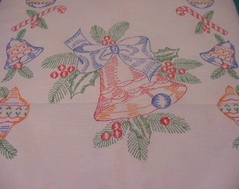 Vintage Christmas Tablecloth With Bell Holly Ornaments Candy Canes And More  XMAS - 422