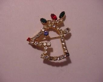 Vintage Rhinestone Rudolph The Red Nosed Reindeer Christmas Brooch  XMAS - 435