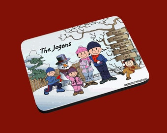 personalized Personalized Snowman and Family w 2 Girls and 1 Boy image Mouse Pad