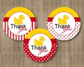 Party Printables  2 inch Yellow and Red  Ducky Thank you tags - 2 inch Circles or Squares (2)
