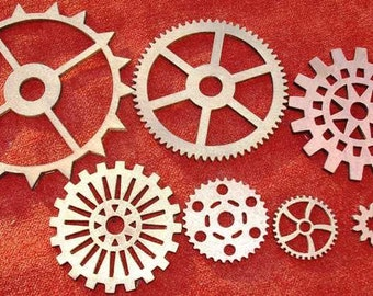"Grouping 10 Wood Laser Cut Gears - Size G 1' - 4"", Assortment of Sizes, Metal Color - Copper, Brass, Bronze"