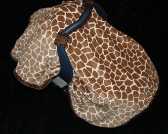 Minky Giraffe Carseat CANOPY Blanket- Ships in 1-3 Days