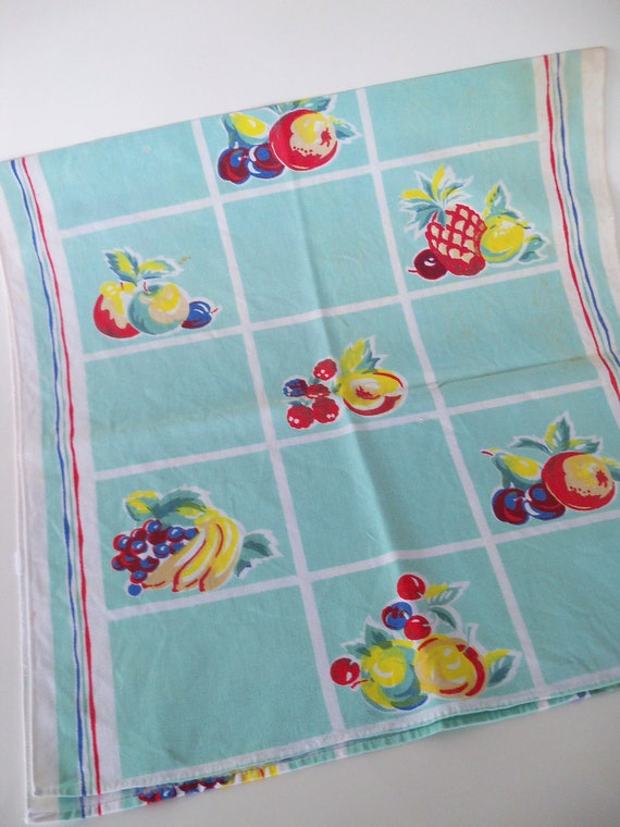 Vintage Aqua Fruit Runner-Towel