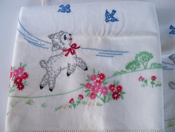 Vintage Pillowcase Set-Embroidered-Prancing Baby Lambs and Bluebirds-Adorable