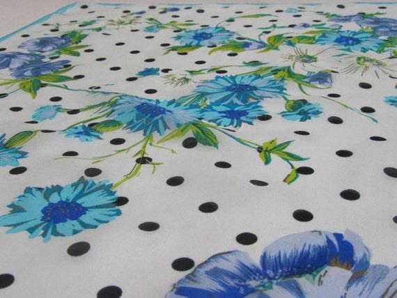 1960s Silk Dress Scarf - Vintage Designer Scarf by Oscar de la Renta - Polka Dots & Flowers