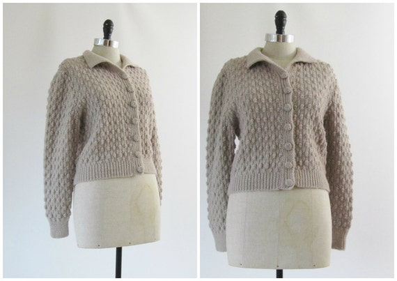 1930s Sweater 1940s Sweater Vintage Hand Knit Cardigan in Grey Brown