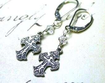 Celtic Cross Earrings - Vintage Style Cross Earrings - Sterling Silver and Swarovski Crystal - Sterling Silver Leverbacks