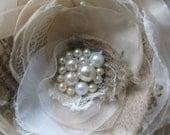 Rustic wedding bridal hairpiece flower shabby burlap vintage bridal lace flower Beige Ivory Fascinator pearls hair clip